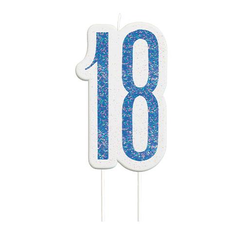 Blue Glitz Age 18 Birthday Candle 9cm