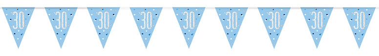 Blue Glitz Age 30 Holographic Foil Pennant Bunting 274cm