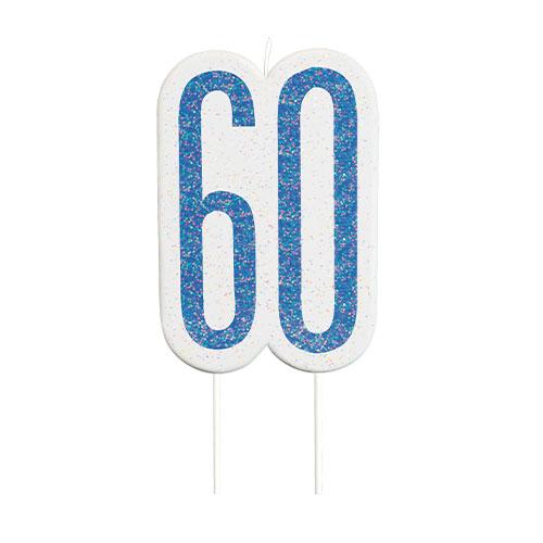Blue Glitz Age 60 Birthday Candle 9cm