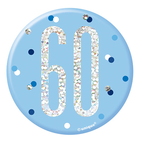 Blue Glitz Age 60 Holographic Birthday Badge 7cm