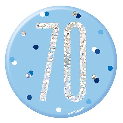 Blue Glitz Age 70 Holographic Birthday Badge 7cm
