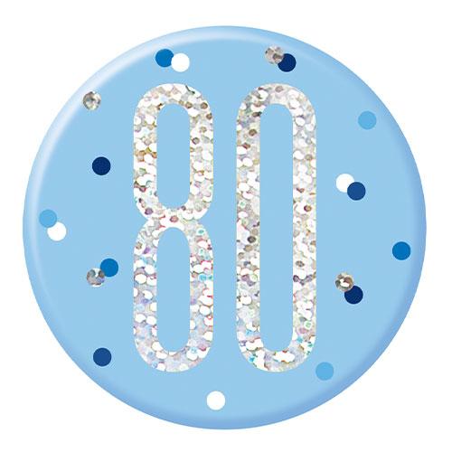 Blue Glitz Age 80 Holographic Birthday Badge 7cm