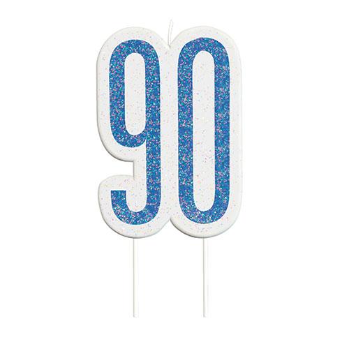 Blue Glitz Age 90 Birthday Candle 9cm