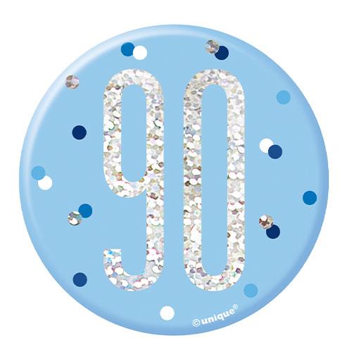 Blue Glitz Age 90 Holographic Birthday Badge 7cm