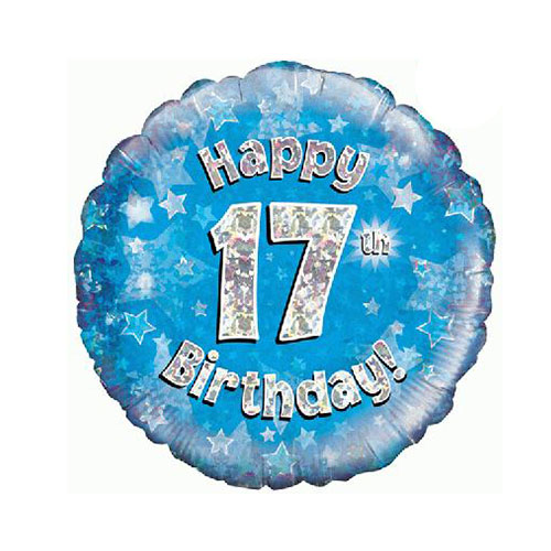 Blue Happy 17th Birthday Holographic Round Foil Helium Balloon 46cm / 18 in