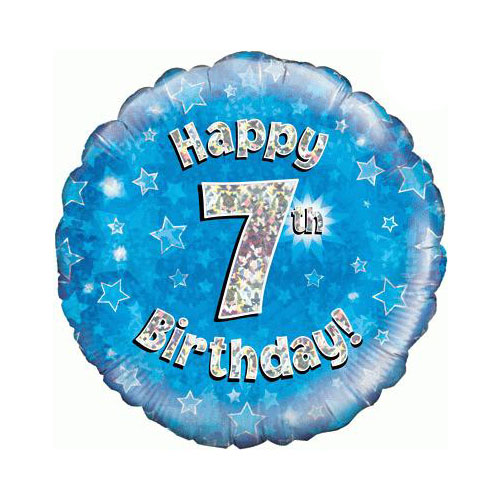 Blue Happy 7th Birthday Holographic Round Foil Helium Balloon 46cm / 18 in