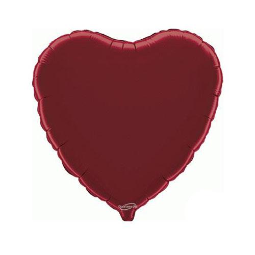 Burgundy Heart Foil Helium Balloon 46cm / 18 in