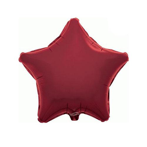 Burgundy Star Foil Helium Balloon 46cm / 18 in
