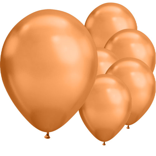 Chrome Copper Round Latex Qualatex Balloons 18cm / 7 in - Pack of 100