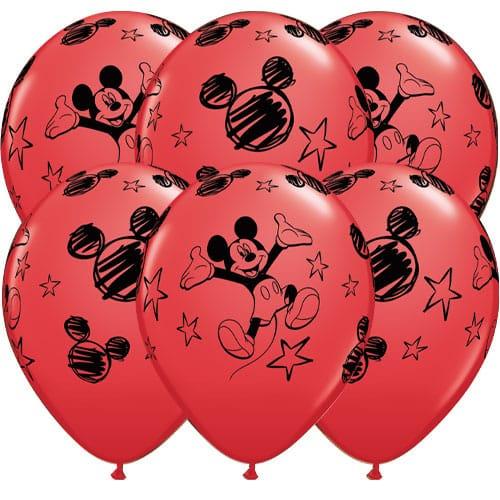Disney Mickey Latex Helium Qualatex Balloons 30cm / 12 in - Pack of 6