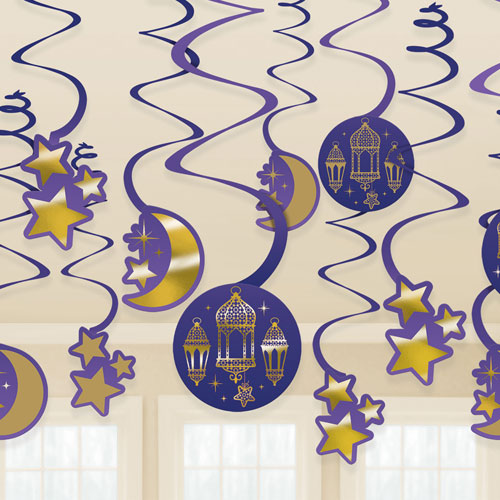 Eid Hanging Swirl Decorations - Pack of 12