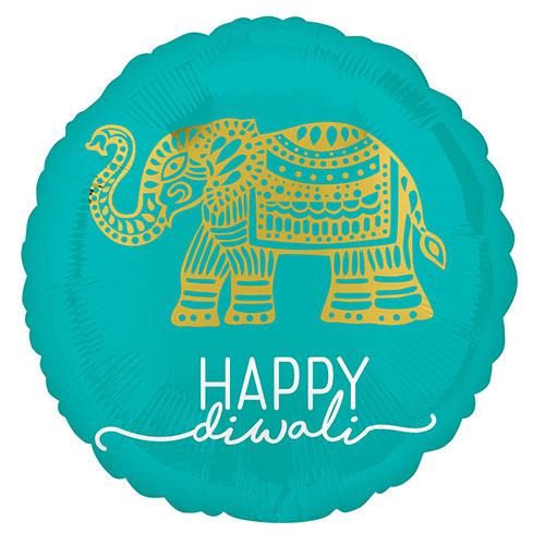 Happy Diwali Celebration Round Foil Helium Balloon 43cm / 17 in