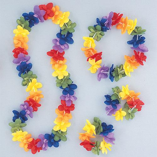 Hawaiian Rainbow Flower Lei Assortment Fancy Dress Set