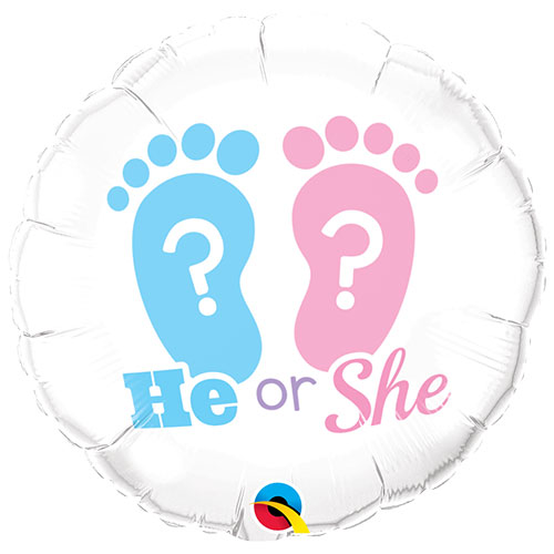 He or She Footprints Gender Reveal Round Foil Helium Qualatex Balloon 46cm / 18 in