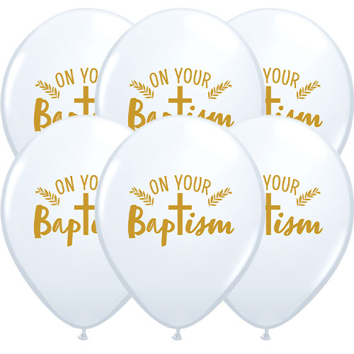 On Your Baptism Cross Latex Helium Qualatex Balloons 28cm / 11 in - Pack of 10