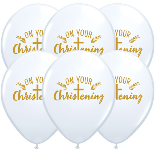 On Your Christening Cross Latex Helium Qualatex Balloons 28cm / 11 in - Pack of 10