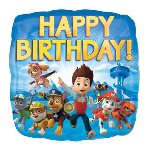 Paw Patrol Happy Birthday Square Foil Helium Balloon 43cm / 17 in