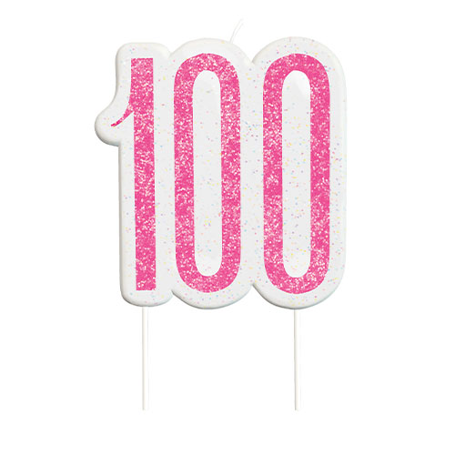 Pink Glitz Age 100 Birthday Candle 9cm