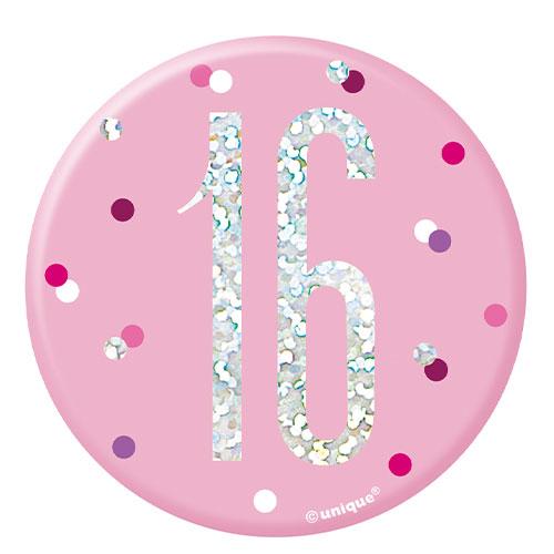 Pink Glitz Age 16 Holographic Birthday Badge 7cm