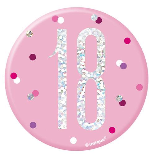 Pink Glitz Age 18 Holographic Birthday Badge 7cm