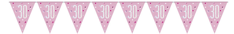Pink Glitz Age 30 Holographic Foil Pennant Bunting 274cm