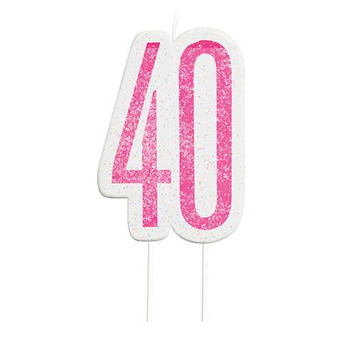 Pink Glitz Age 40 Birthday Candle 9cm