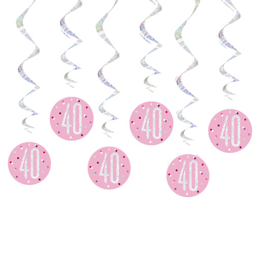 Pink Glitz Age 40 Holographic Hanging Swirl Decorations - Pack of 6