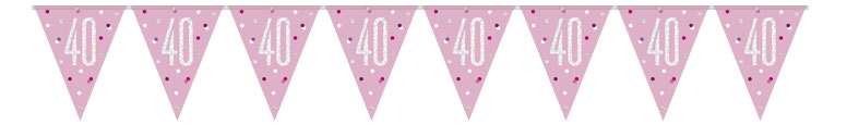 Pink Glitz Age 40 Holographic Foil Pennant Bunting 274cm