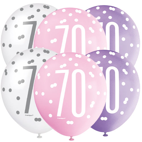 Pink Glitz Age 70 Assorted Biodegradable Latex Balloons 30cm / 12 in - Pack of 6