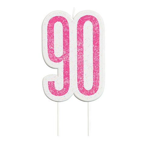 Pink Glitz Age 90 Birthday Candle 9cm