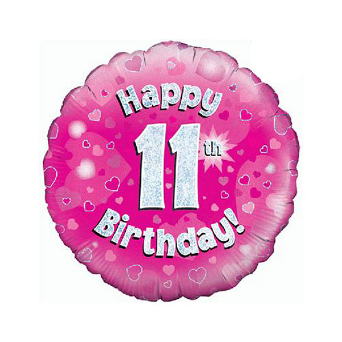 Pink Happy 11th Birthday Holographic Round Foil Helium Balloon 46cm / 18 in