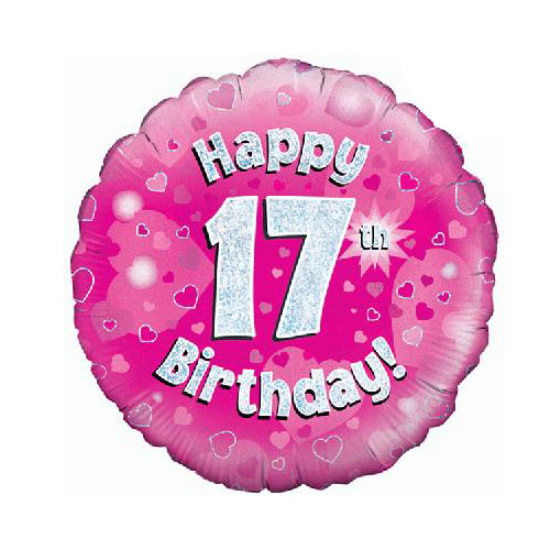Pink Happy 17th Birthday Holographic Round Foil Helium Balloon 46cm / 18 in