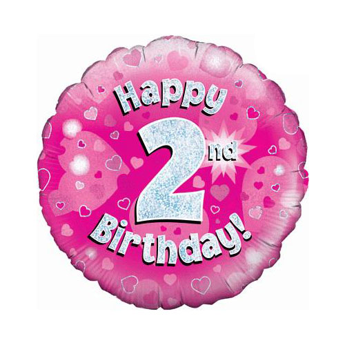 Pink Happy 2nd Birthday Holographic Round Foil Helium Balloon 46cm / 18 in