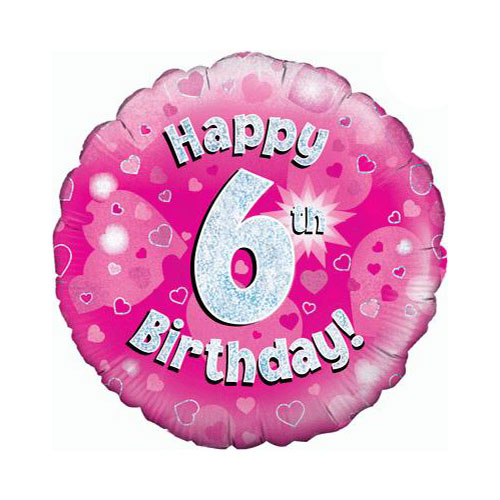 Pink Happy 6th Birthday Holographic Round Foil Helium Balloon 46cm / 18 in
