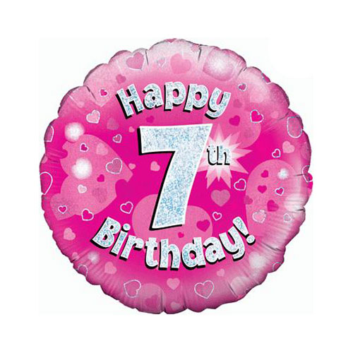 Pink Happy 7th Birthday Holographic Round Foil Helium Balloon 46cm / 18 in