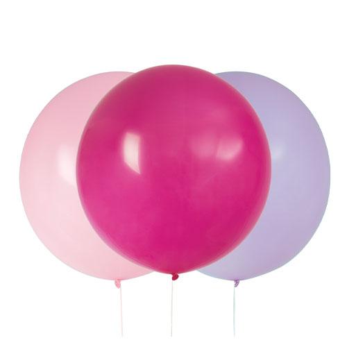 Pink & Purple Jumbo Biodegradable Latex Balloons 61cm / 24 in - Pack of 3