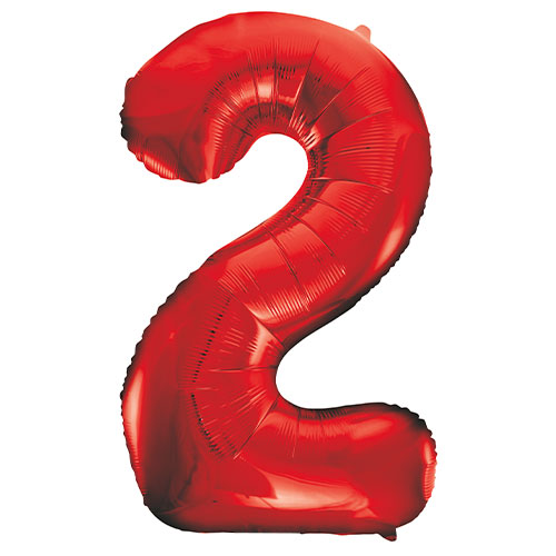 Red Number 2 Helium Foil Giant Balloon 86cm / 34 in