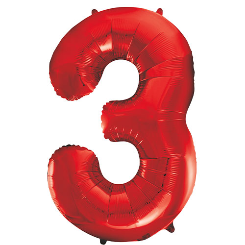 Red Number 3 Helium Foil Giant Balloon 86cm / 34 in