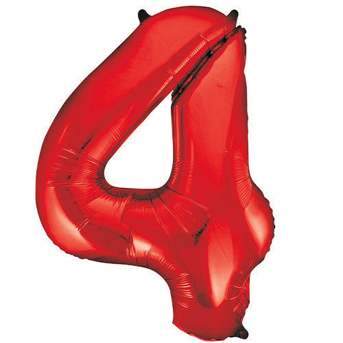 Red Number 4 Helium Foil Giant Balloon 86cm / 34 in