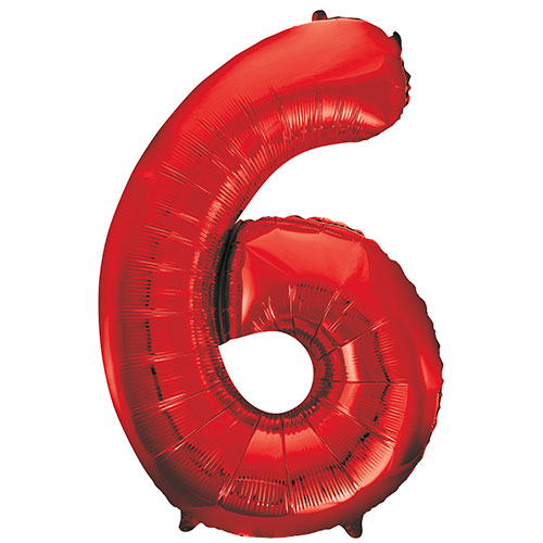 Red Number 6 Helium Foil Giant Balloon 86cm / 34 in