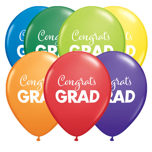 Simply Congrats Grad Assorted Latex Helium Qualatex Balloons 28cm / 11 in - Pack of 10