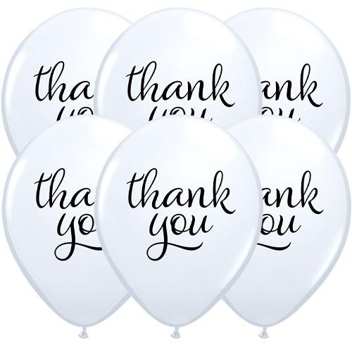 Simply Thank You Assorted Latex Helium Qualatex Balloons 28cm / 11 in - Pack of 10