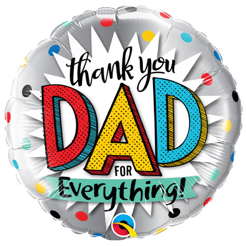 Thank You Dad Father's Day Round Foil Helium Qualatex Balloon 46cm / 18 in