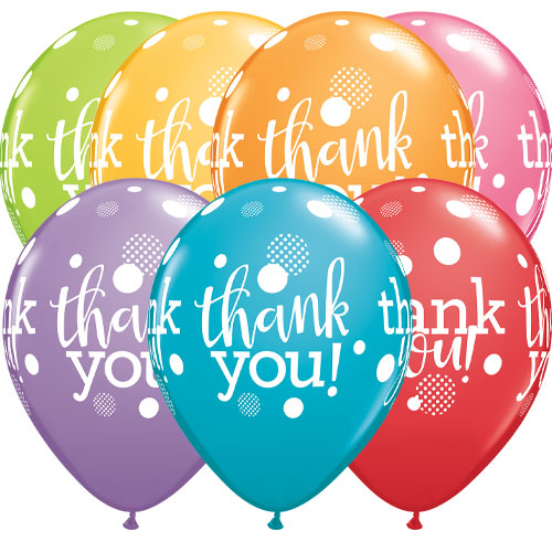 Thank You Dots Assorted Latex Helium Qualatex Balloons 28cm / 11 in - Pack of 10