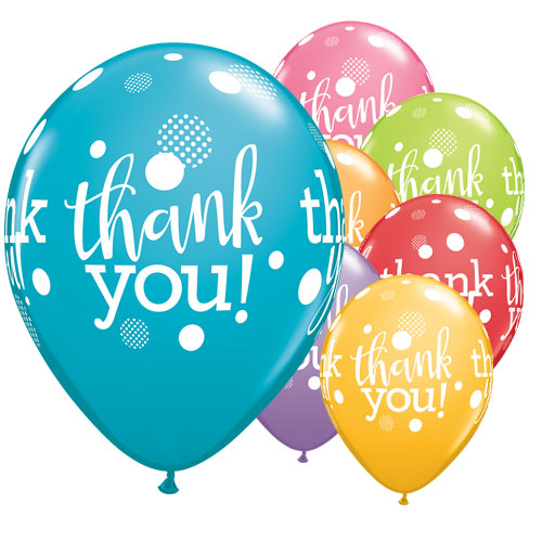 Thank You Dots Assorted Latex Helium Qualatex Balloons 28cm / 11 in - Pack of 25