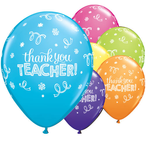Thank You Teacher Assorted Latex Helium Qualatex Balloons 28cm / 11 in - Pack of 25