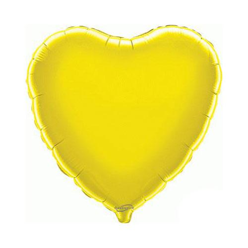 Yellow Heart Foil Helium Balloon 46cm / 18 in