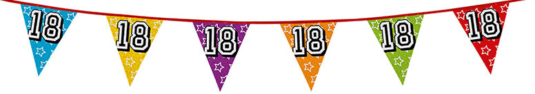 Age 18 Holographic Foil Pennant Bunting 8m
