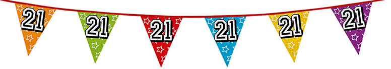 Age 21 Holographic Foil Pennant Bunting 8m