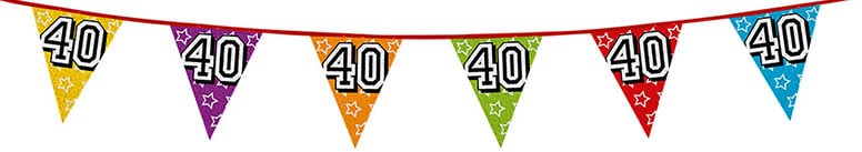 Age 40 Holographic Foil Pennant Bunting 8m